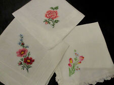 Lot of 3 Vintage Pink hand Petit Point Embroidered Floral hankies ,