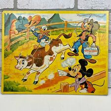 VTG Jaymar Disney Mickey Mouse Goofy Donald Duck 35 Piece Cowboy Ranch Puzzle