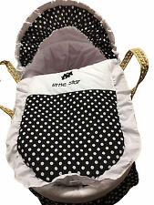 Mother Nature Inspired Baby Moses Basket Bedding/Dressing - Black Polka Dots