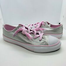"""CONVERSE """"CTAS Ox"""" Junior Girl's Mouse Gray/Pink Foam Sneakers~~Size 3"""