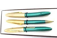 VTG 3PC  Arnold Lever Fountain Pen & Mechanical Pencil Green- Gold Cap 14K NIB