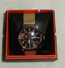 ADEE KAYE MENS CHRONOGRAPH MESH WATCH BLACK / GOLD / AK7234-M NEW