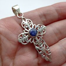 Sterling Silver Sapphire Cross Pendant September Birthday 45th Annversary Gift