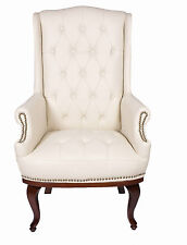 Chesterfield Queen Anne Style Chair Luxury Leather Armchair Wingback Fireside Antique Cream