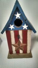 Painted Wooden Birdhouse Stars and Stripes