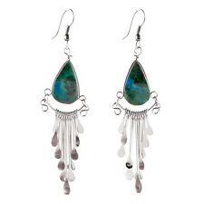 "#4103 Genuine Turquoise Peruvian Earrings Stone Drop Artisan Alpaca Silver 2""HOT"