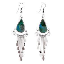 "#4103 Genuine Turquoise Peruvian Earrings Stone Drop Artisan Alpaca Silver 2""HOT"