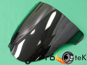 9sparts Black Clear Smoke Double Bubble ABS Plastic Injection Windscreen Windshield For 2000 2001 2002 Kawasaki Ninja ZX6 ZX6R ZX600J 2005 2006 2007 2008 ZZR600 Clear