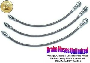STAINLESS BRAKE HOSE SET Hudson Hornet Custom & Custom Six 1955 1956 1957
