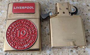 Original Zippo Chrome Lighter - Customised for a Liverpool football team theme
