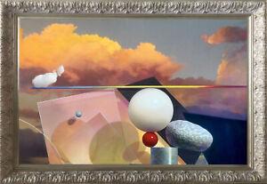 "Modern Art original canvas painting Balancing act with a cloud 28""x 38"" Framed"