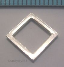 4x STERLING SILVER SQUARE FRAME JUMP RING CONNECTOR SPACER BEAD 8.1mm #647