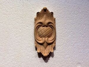"Hand Carved solid Cherry applique/onlay Decor 5-7/8 "" x 2-5/8"" x 3/4"""