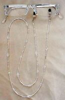 ! SASSY READING GLASSES CRYSTAL AB SILVER 2.75 READERS with MATCHING CHAIN!