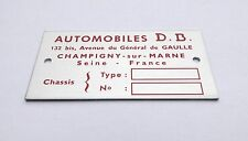 Plaque constructeur Automobile DB - Automobile DB vin plate