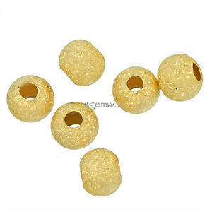 20 Gold Plated Sterling Silver Stardust Finish Round Spacer Beads 4mm #51933
