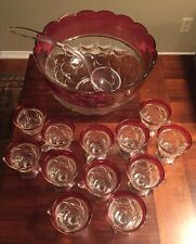 Vintage Indiana Glass Lexington Thumbprint Ruby Red Flash Punch 14 Piece Set