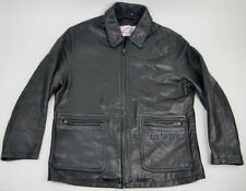 Men's EXCELLED Black Leather Shirt Jacket Full Zip Embroidered BUDWEISER Size L