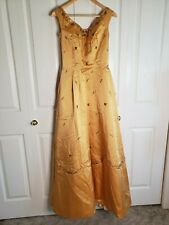 fcebede6cd0 Vtg 50s Gold Yellow Thick Satin Beaded ballgown Dress Prom Union Tag Pinup  Small