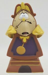 """Disney Beauty and the Beast Cogsworth Clock Piggy Coin Bank Plastic 5.5"""" VINTAGE"""