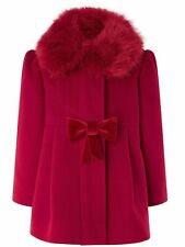 Monsoon Girls Red Winter Faux Fur Winter Coat Casual Jacket 3 Months To 3 Years