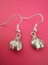 FREE GIFT ** ANTIQUED SILVER DANGLE EARRINGS Ladybug