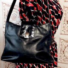 LAUREN RALPH BLACK LEATHER SATCHEL HANDBAG $219.00 Purse Shoulder Bag Pockets