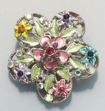 BROOCH flowers in colors with colored crystals