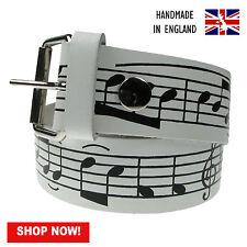 38mm Blanc À Motif Imprimé 100% Véritable Cuir Handmade En England Tailles