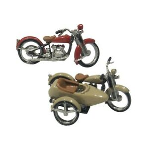 Woodland Scenics D228 HO-Scale KIT Motorcycles & Sidecar, Lead Free Metal