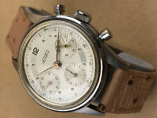Fortis Chronograph Vintage White Face 3 Register 1940s Military WWII Watch