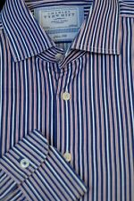 Charles Tyrwhitt Men's Navy White Red Stripe Cotton Dress Shirt 16.5 x 35