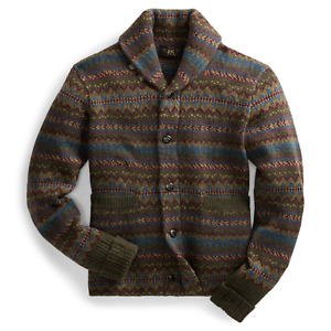 RRL Ralph Lauren Fair Isle Wool Blend Cardigan-MEN- L