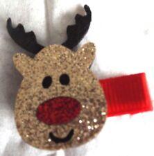 Glitter Rudolph the Reindeer forked hair clip slide Xmas present stocking filler