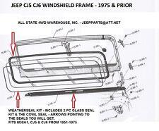 WINDSHIELD FRAME COWL & GLASS SEALS 1951-1975 JEEP CJ5 CJ6 M38A1- BRAND NEW
