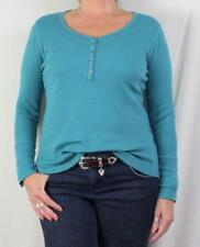 Soft Surroundings Blue Henley Top M L size Button Cuffs Stretch Womens Shirt