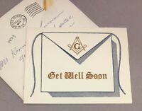 Vintage Masonic Freemason Greeting Card  Get Well Soon 1960s