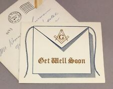 Vintage Masonic Freemason Greeting Card  Get Well Soon 1960s