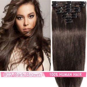 CLEARANCE 100% Remy Human Hair Extensions Clip In Real Hair Weave Full Head Ashy