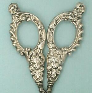 Ornate Antique Sterling Silver Embroidery Scissors * American * Circa 1890s