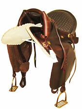 """THSL"" LEATHER ARABIAN SADDLE OIL BROWN STITCHED PADDED  SEAT 18"" (TRA_1001)"