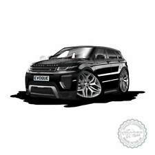 Range Rover Evoque Santorini Black Cartoon Caricature A4 Print Personalised Gift