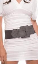 "Rectangle Buckle Belt 3"" Faux Suede Stitched Silver Rivets Elastic Back 990110"