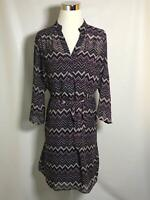 Tacera S Small Women's Dress Purple Chevron Print V-Neck Sheer 3/4 Sleeve