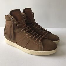 P-212985 New Saint Laurent Suede Fringe High-top Women Sneakers Size 40 US 10