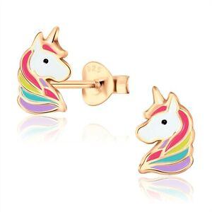 14K Rose Gold Plated Rainbow Unicorn Enamel Stud Animal Earrings Kids Girls