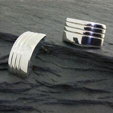 Titan Titanium Ohrstecker Ohrringe viereck große Silber Damen Herren matt glanz
