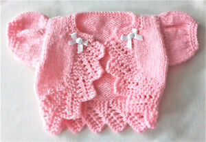 """Hand knitted dolls clothes. Fit 18/19"""" reborn/ baby doll. 4/8lb premature baby."""