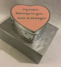 """Things Remembered, """"Metal Heart Shaped Jewelry/Trinket Box Padded Interior"""