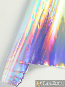 """Vinyl Upholstery Plain Hologram Glossy Smooth Fabric 54"""" W Sold By The Yard"""